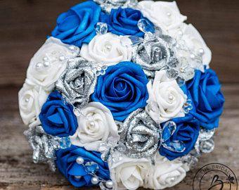 Bouquet da sposa sposa di seta blu e argento