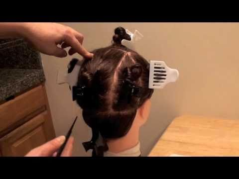 How to divide hair into 9 sections fast and easy. Class for hairdressers, Beauty School Students, and State Board Applicants to pass the practical Exam and get Cosmetology License