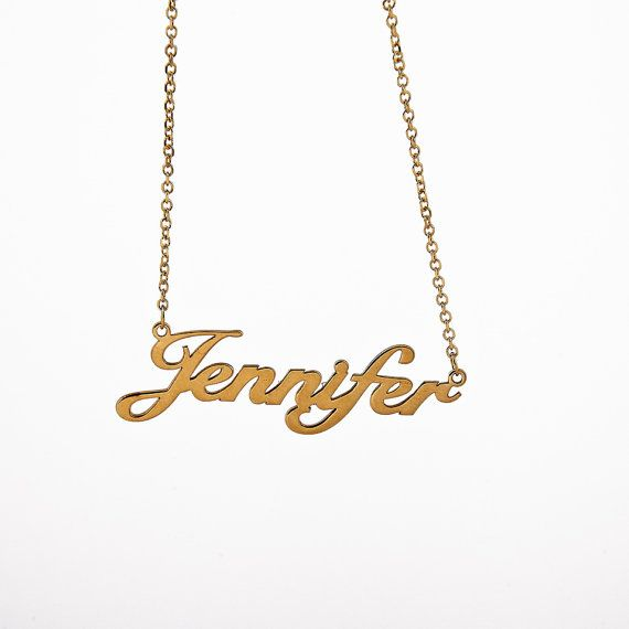 Gold 9k-14k Personalized Name Necklace Solid Gold by AntEvaCrafts