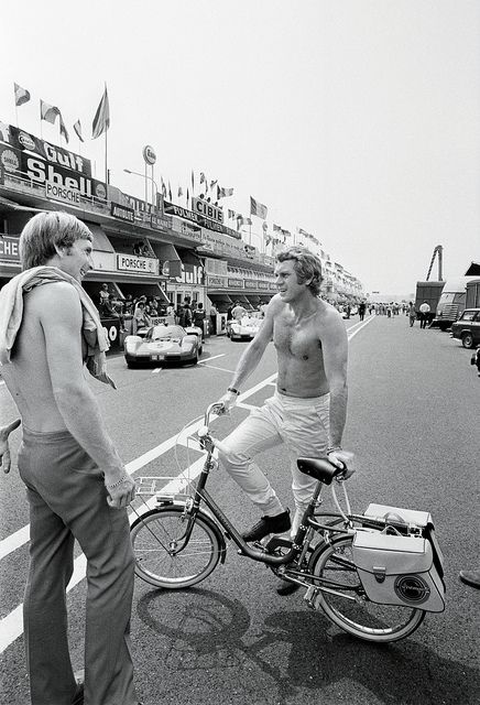 My father in law Derek Bell and Steve McQueen Le Mans 1970. Sarah Bell by Nigel Smuckatelli, via Flickr