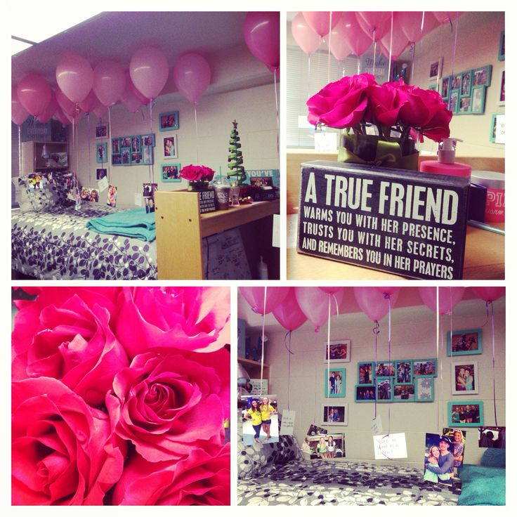 Birthday surprise for a best friend. Roses, wall art, and pictures with notes tied to pink balloons in a dorm room. So perfect!