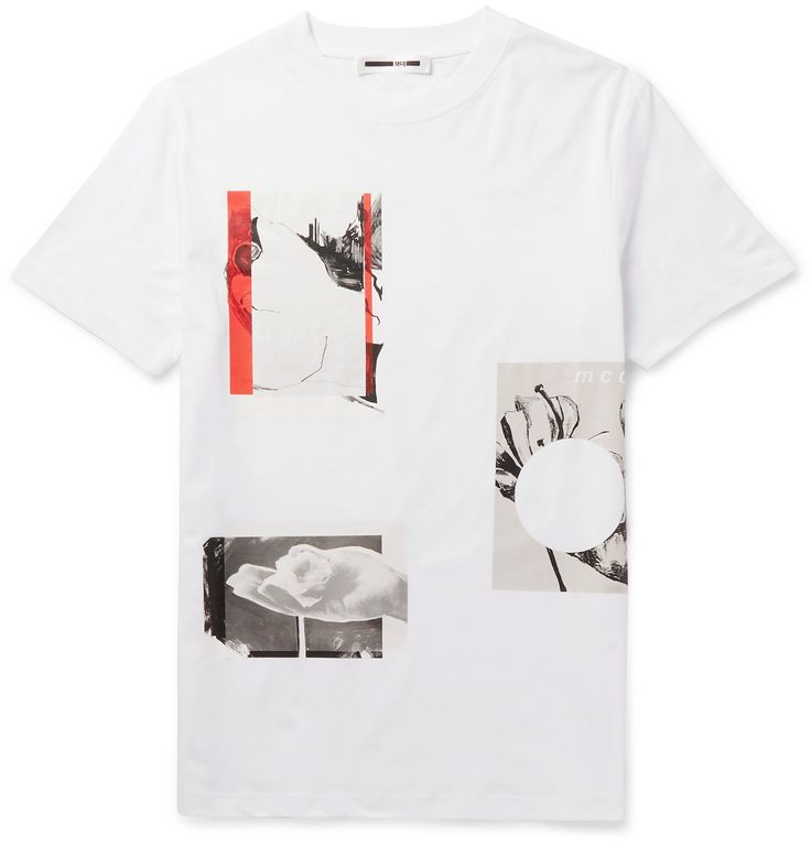 <a href='http://www.mrporter.com/mens/Designers/McQ_Alexander_McQueen'>McQ Alexander McQueen</a> creates casual pieces that encompass the main line's rebellious spirit in a cool, street-inspired way. This T-shirt is cut from superbly soft cotton-jersey printed with artful botanical illustrations and graphic red stripes. Team yours with a biker jacket and well-worn jeans.