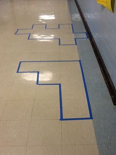 Practice area and perimeter by placing painters tape on the tile floor.
