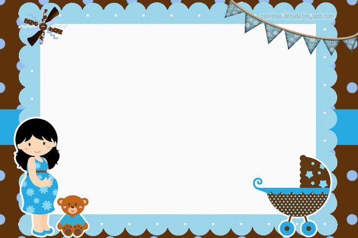 convite chá de bebe azul e marrom imprimir grátis