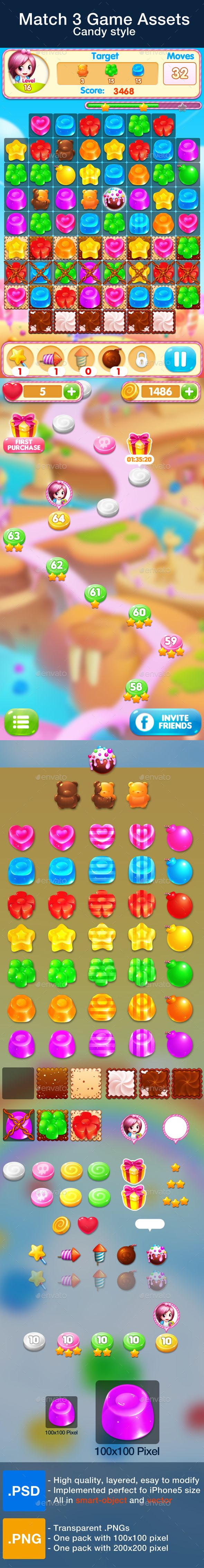 Match 3 Game Assets - Candy Style.  	2d, candies, candy, cute, design, game, game assets, game kits, gui, items, lock, match 3, mobile, mobile game, object, sweet