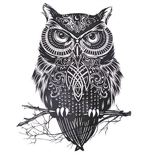 COKOHAPPY Large Temporary Tattoo  Owl Celtic for Men Women *** To view further for this item, visit the image link.