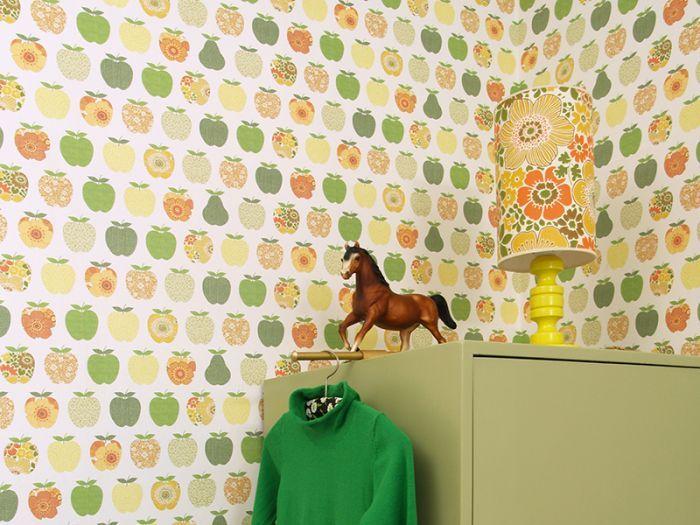 Appeltjes oranje  Retro behang, retro, behang, muurdecoratie, wanddecoratie, Inke, muurprints, muurpanelen, retro interieur, vintage, vintage behang, vintage interieur, kinderkamer, woonkamer, Funky-friday.com