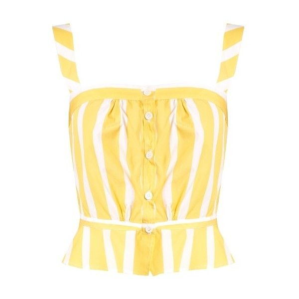 Thierry Colson Rossa striped peplum cotton-poplin cami top (£245) ❤ liked on Polyvore featuring tops, yellow multi, yellow tank, cami top, cami tank, beige cami and peplum tank top