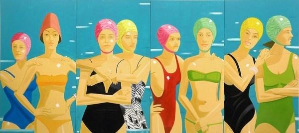 Alex_Katz, girls-bathing beauties-swim: Oil On Canvas, Eleuthera 1984, Private Collection, Turner Contemporary, New York, Beaches Houses, Alex Katzeleuthera, Alex O'Loughlin, Alexkatzeleutherajpg 940400