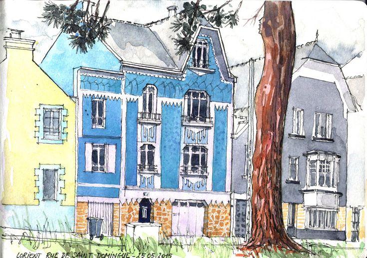 Belles maisons très colorées sur le bord du Scorff Aquarelle sur carnet Moleskine 30x21