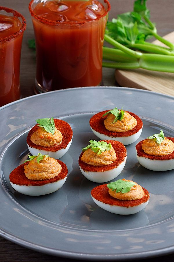Perfect Easter appetizers start with hard-boiled eggs and finish with a creative twist. Spicy Hungarian paprika and horseradish shine against sweet tomato flavor and sea salt for a familiar flavor profile – a Bloody Mary! Guests will love this twist on classic deviled eggs.