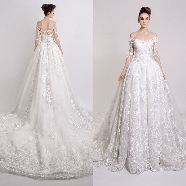 Modest Winter Wedding Dresses 2015 Sexy Sheer Lace Applique Off Shoulder  3/4 Long Sleeve