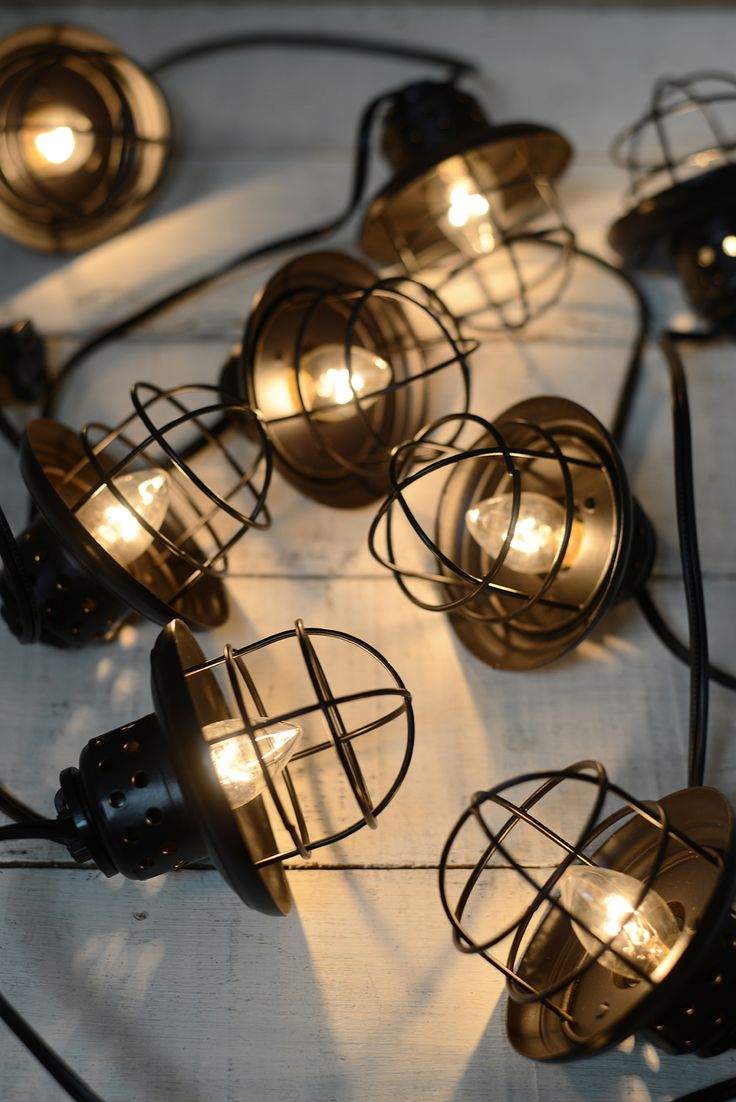 nautical cage string lights black 10ct lantern string lights metal