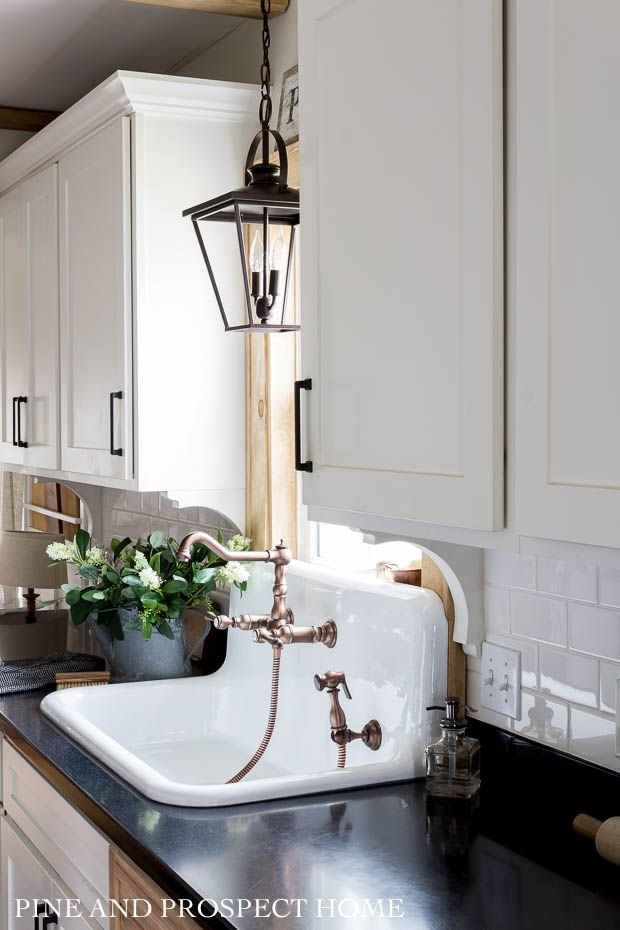 A New High Back Sink And Faucet In Our Cottage Kitchen Cottage Style Kitchen Cottage Kitchen Rustic Home Interiors