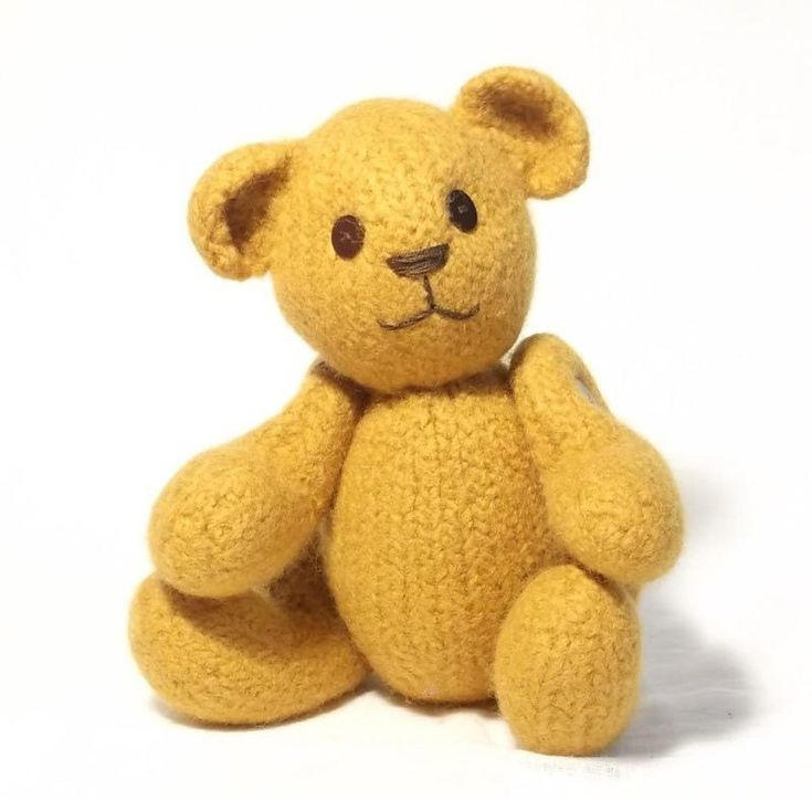 This original teddy design is knitted in pure, hand wash wool and then transformed by a ride in a washing machine into soft strong felt. His arms and legs are jointed so he can sit, stand or cuddle and his traditional button eyes twinkle above his embroidered nose and mouth.My clear and detailed, fully illustrated instructions guide you step by step, through knitting, sewing up, felting, assembling and creating the face of your teddy.