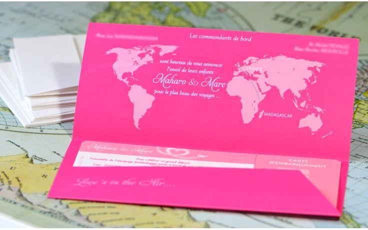 Faire-part mariage billet d'avion Coeur - L'Atelier d'Elsa