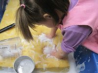 """""""Giant Sponge..."""" sensory water and soap play, from the Sand and Water Tables blog. LOVE IT!"""