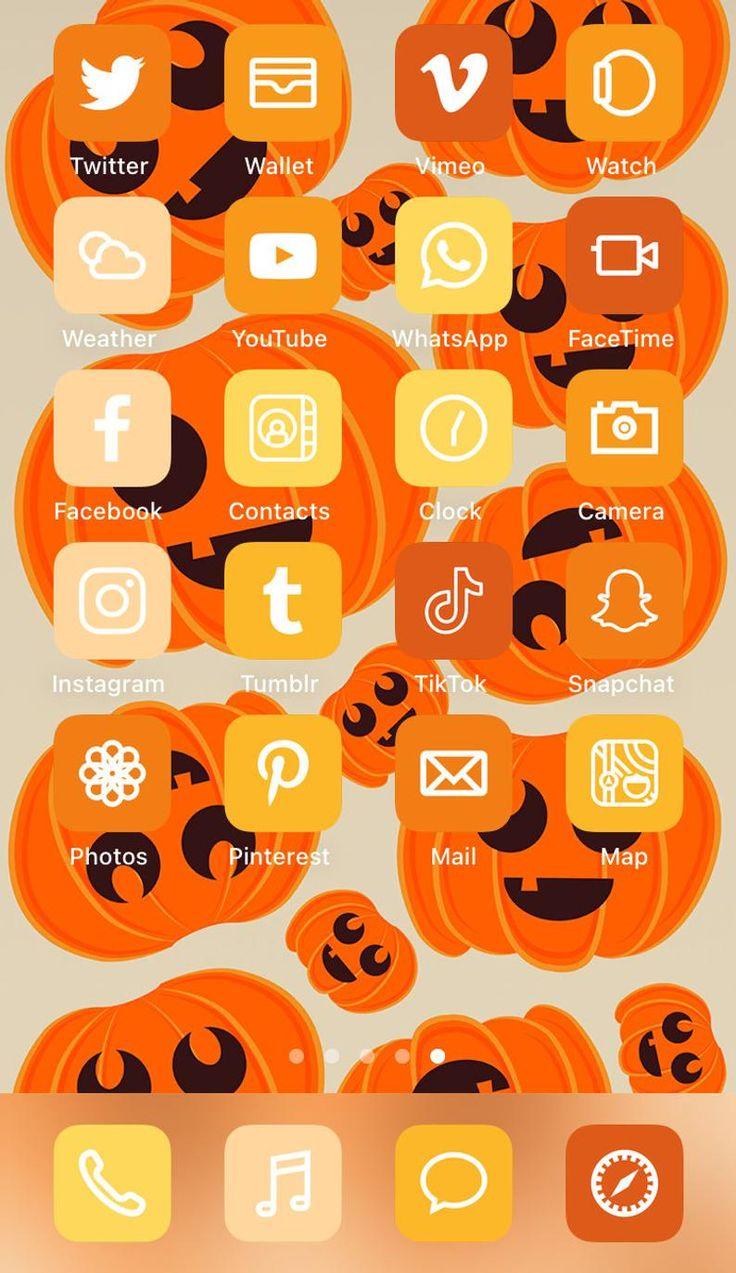 Iphone Ios 14 App Icons Pack Jack O Lantern Aesthetic Iphone Ios14 App Icons Halloween Ios 14 App Icons Pack In 2020 App Icon Icon Pack Iphone