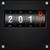 Detallado vector de 2017 contador analógico de año nuevo — Ilustración de stock #100835326