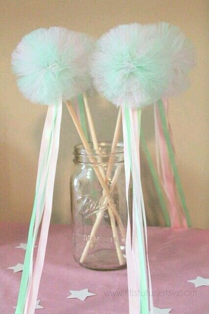 Tulle pom ribbon wands