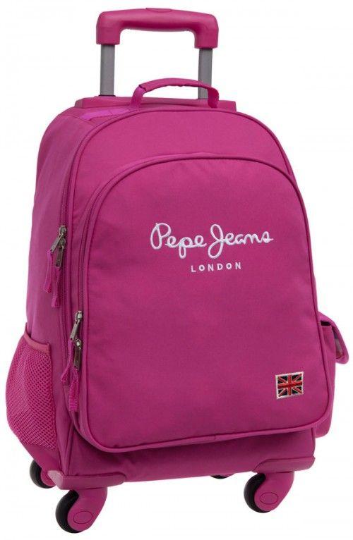 mochila pepe jeans original pepe pink 4 ruedas