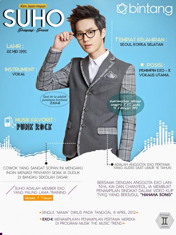 Perjuangan Suho EXO dimulai ketika ia berusia 16 Tahun dan saat itu, ia menjadi anggota pertama yang trainee di SM Entertainment. Info lainnya bisa kamu simak di Music Bio berikut. #Suho #Exo #InstaKpop #Bintang #Indonesia