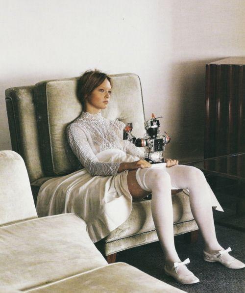 Sasha Pivovarova in Vogue Italia March 2006 by Steven Meisel