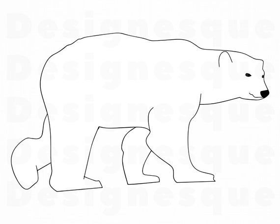 Polar Bear Outline Svg Polar Bear Svg Bear Svg Polar Bear Etsy In 2021 Polar Bear Outline Polar Bear Craft Bear Template