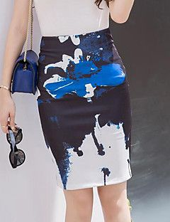 Damen+Röcke+-+Street+Schick+Übers+Knie+Baumwolle+Mikro-elastisch+–+EUR+€+11.75