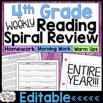This 4th Grade Spiral Reading resource is perfect for Reading HOMEWORK, Reading MORNING WORK, or a DAILY READING REVIEW! These quality written passages and text dependent questions build in complexity each week, as more skills are introduced.