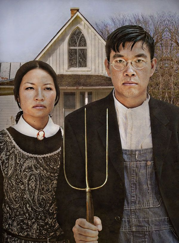 """Engagement shoot inspired by the famous painting """"American Gothic"""""""