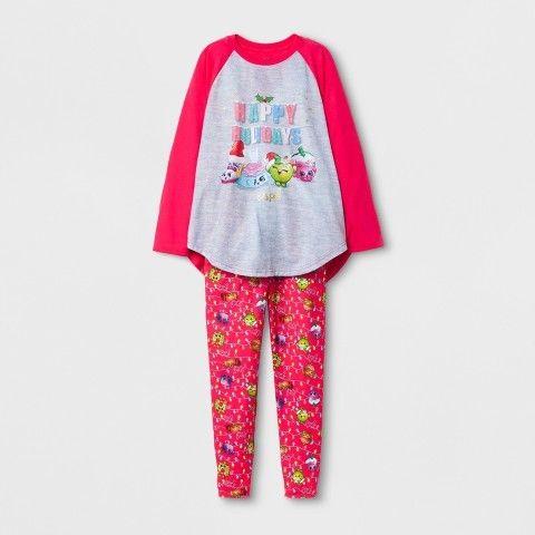 Shopkins Girls' Happy Holidays Pajama Set - Shopkins Gray
