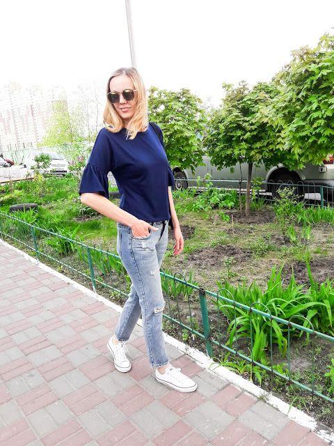 Повседневная синяя блуза.