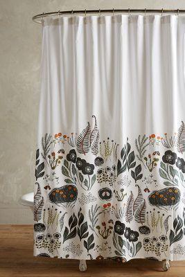 Bohemian bathroom decor, gypsy, woodland, folk style Anthropologie Twilight Shower Curtain