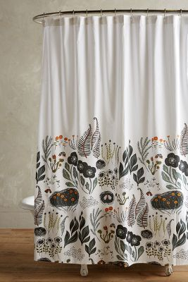 Bohemian bathroom decor, gypsy, woodland, folk style Anthropologie Twilight Shower Curtain