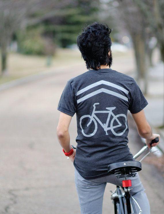 Share the Road - bicycle shirt for men | men's bike lane tshirt - bike sharrows screenprint - fathers day | for dad
