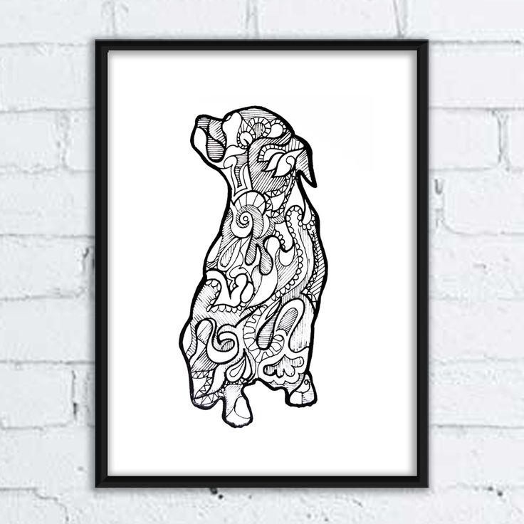 #dog #pies #grafika #buldog #rysunek #ilistracja #illustration #mandala #wzory #pozytywne #wnętrza #labrador