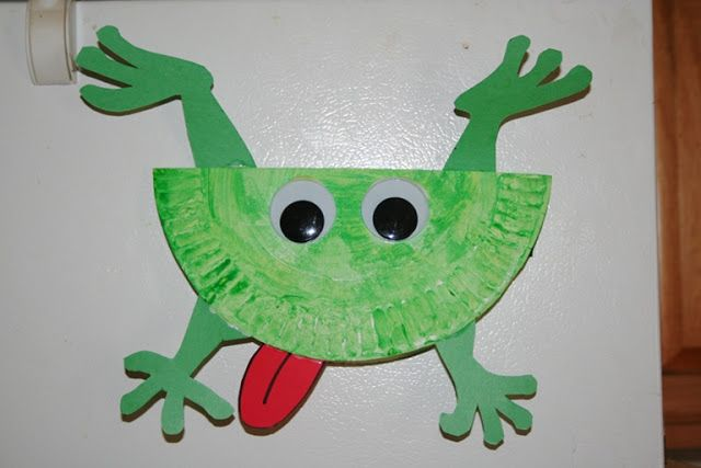 If you missed storytime, we created frogs out of paper plates, green and red construction paper, and large googly eyes from www.preschool-creative-learning.blogspot.com 4/3