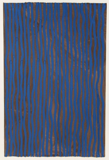 """Sol LeWitt """"Wavy Vertical Lines"""" 2005 gouache"""