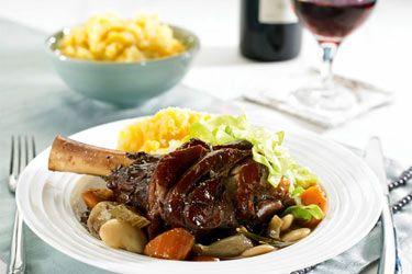 Lamb shanks in red wine sauce