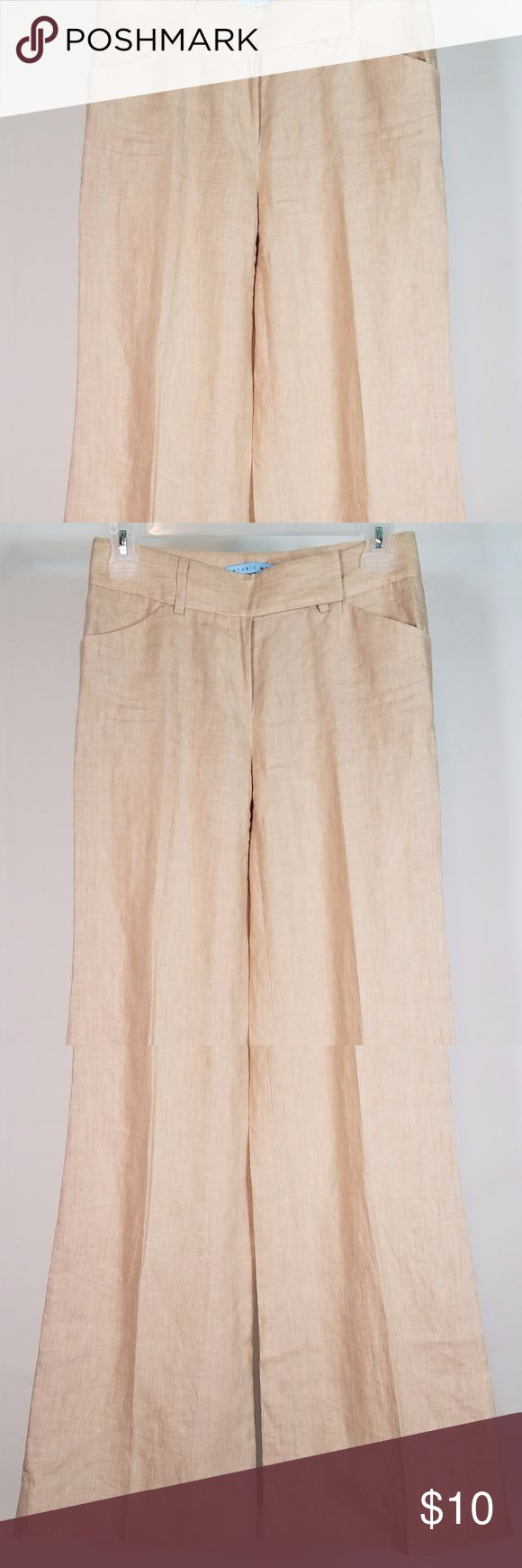 Antonio Melani tan Linen slacks/pants size 0 -Item: ladies slacks  -Brand: Antonio Melani  -Color: beige/tan  -Fabric Content: 100% Linen  -Condition: Excellent used condition with small flaw. See photos.   -Special Details/Notes: Missing one of two metal clasps at the waist. Still functional and wearable with only one clasp, but it could easily be fixed by a tailor or seamstress if need be. Other than that, they're in excellent condition with plenty of life left in them!  -Measurements…