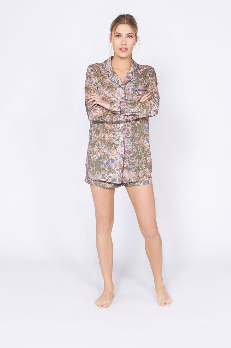 Riccardo Print Short Luxury Cotton Womens Pyjama Set - Olive – Desmond & Dempsey