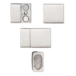 clasp magnetic stainless steel 20x13mm rectangle with gluein ends 105