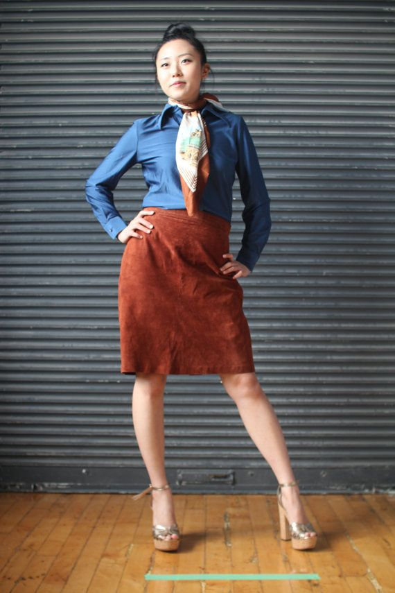 Vintage brown suede pencil skirt 1980s by EVOLvintage on Etsy