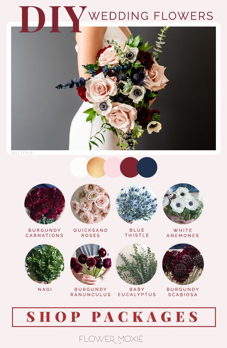 Navy And Wine Flower Packages In 2020 Flower Packaging Wedding Flower Packages Diy Wedding Flowers