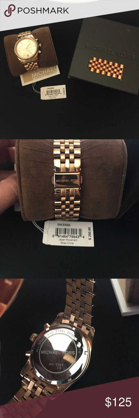 Michael Kors women's oversized watch Michael Kors Lexington women's watch in rose gold. Style #MK5569. Shows light scratches and comes with original links to size up of needed. Box and original tag is included also. Battery replaced recently. Excellent condition. MICHAEL Michael Kors Accessories Watches