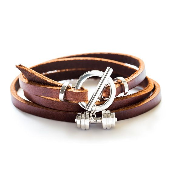 Dumbbell bracelet Sterling silver and genuine leather fitness jewelry accessory fitness bracelet