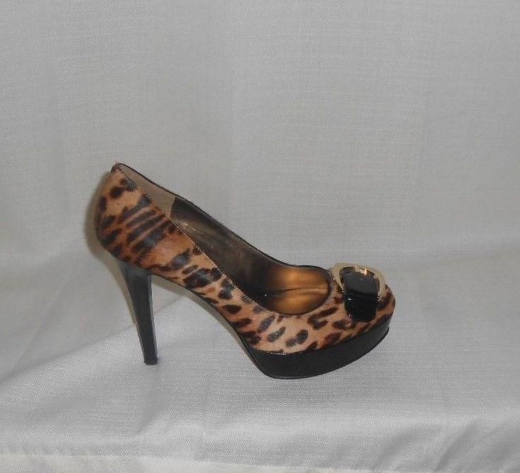 NINE WEST Pumps Heels Shoes Pumps Size 8M Stiletto Leopard Platform CALF LEATHER #NineWest #PlatformPumps #Party