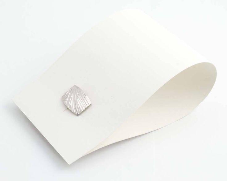 Aurora Patina Vintage zilveren manchetknopen uit de art deco periode gegraveerd blad