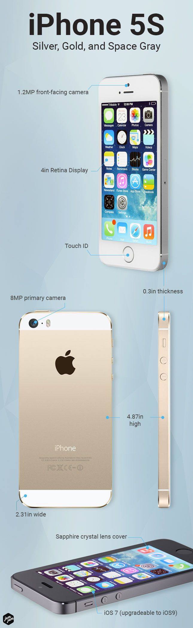 The iPhone 5s is an awesome phone! Grab one today at JemJem.com.